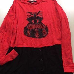 Kensie XS Raccoon Shirt New w/ Tags